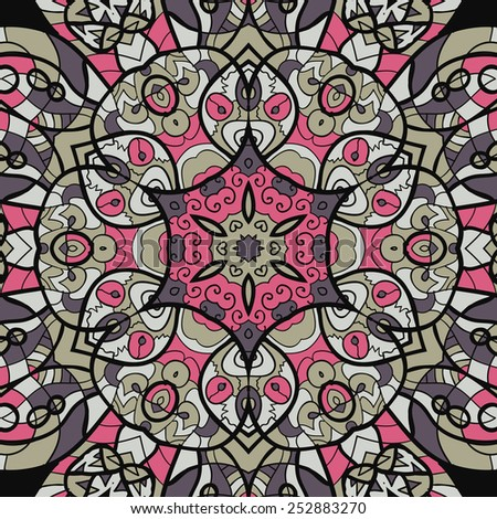 Seamless pink and brown mandala ornament template for menu, greeting card, invitation or cover. - stock vector