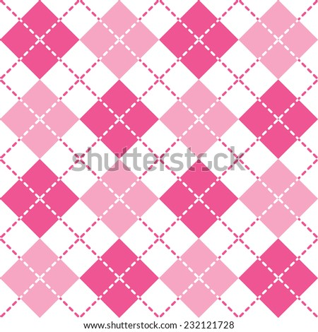 Seamless Pink Argyle Pattern with dashed lines. - stock vector