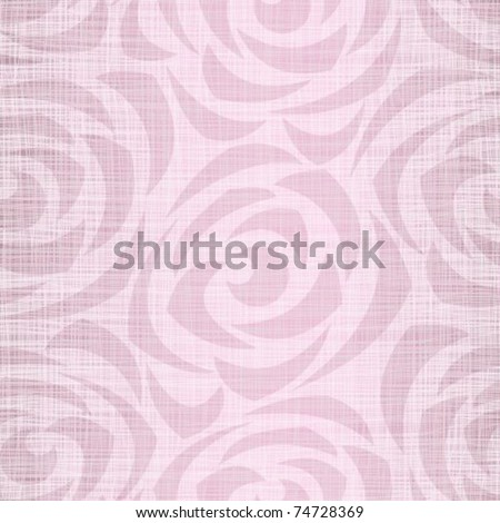 Seamless pink background a fabric with the stylized roses - stock vector