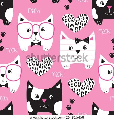 seamless pink cat pattern vector illustration - stock vector