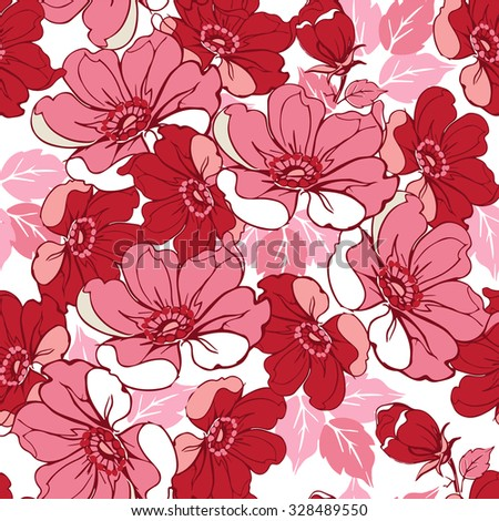 Seamless pink floral pattern.  Decorative ornament backdrop for fabric, textile, wrapping paper.