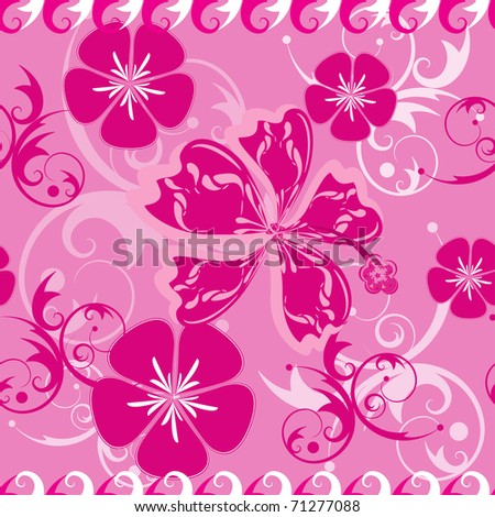 Seamless Pink Hawaii Pattern - stock vector