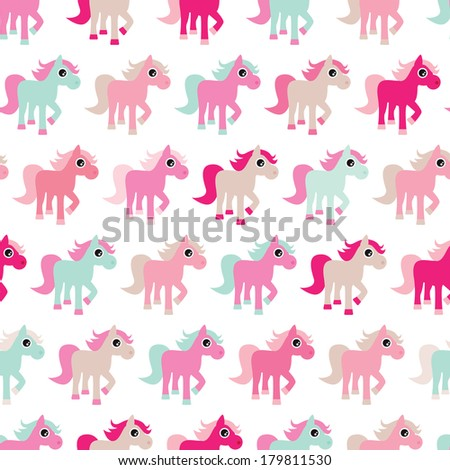 Seamless pink horse girls pony illustration background pattern in vector - stock vector