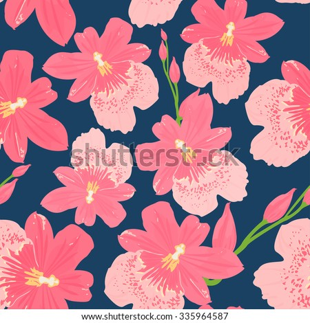 Seamless pink orchid, cambria flower pattern on dark blue background