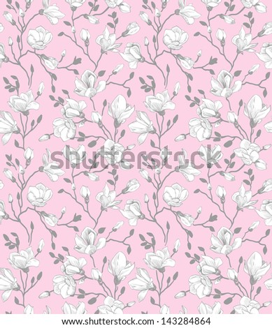 Seamless pink pattern with a blossoming magnolia - stock vector