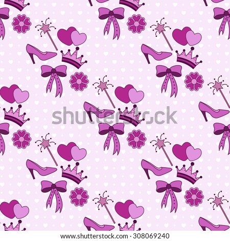 Seamless pink pattern with a set for a princess - stock vector