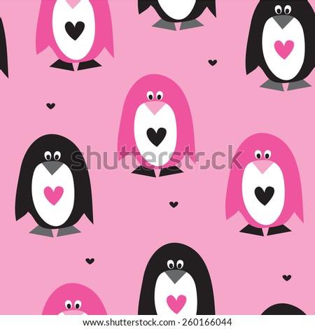 seamless pink penguin pattern vector illustration - stock vector