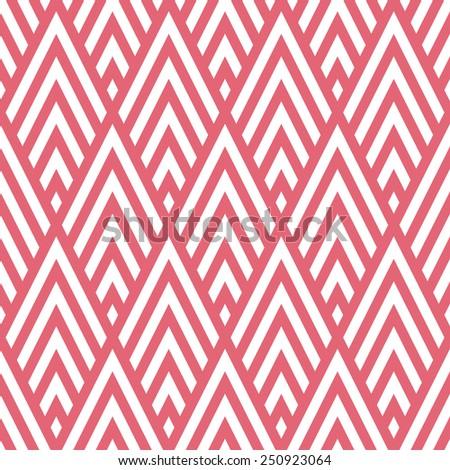 Seamless pink rhombic chevrons art deco pattern vector - stock vector