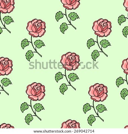 Seamless pink roses pattern on green background. Vector illustration.