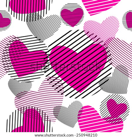 Seamless pink striped heart. Vector - stock vector