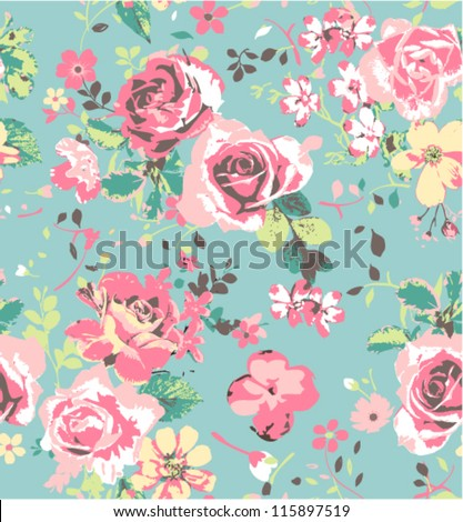 seamless pink vintage rose pattern on green blue background
