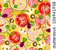 Seamless pizza pattern with different ingredients. Vector illustration - stock vector
