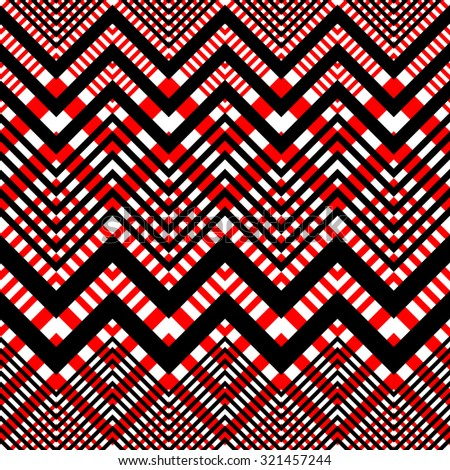 Seamless Plaid Pattern. Vector Black and Red Background - stock vector