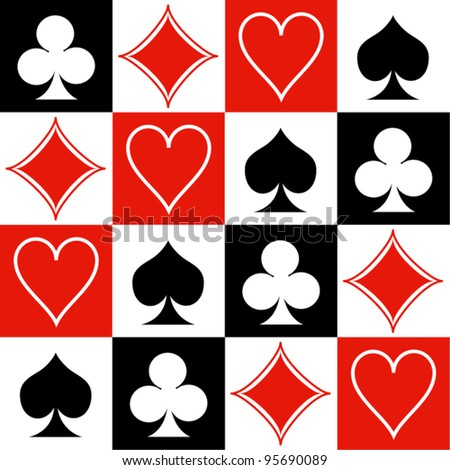 Seamless poker background with suits: hearts, diamonds, clubs, spades. Vector illustration. - stock vector