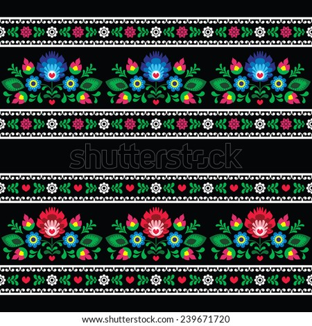 Seamless Polish folk art pattern with flowers - wzory lowickie on black  - stock vector