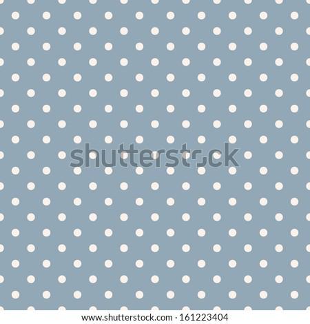 Seamless polka dot blue pattern with circles. Vector - stock vector