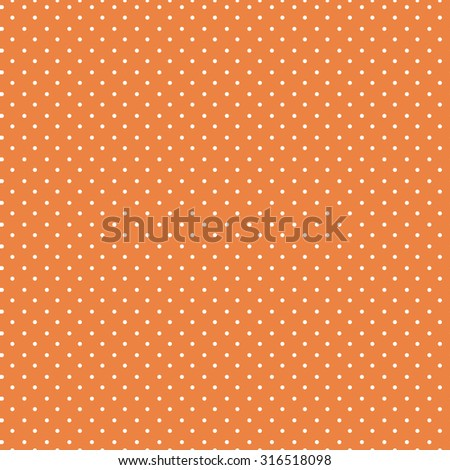 Seamless polka dot pattern - white dots on orange background