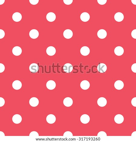 Seamless polka dot pattern - white dots on red  background - stock vector