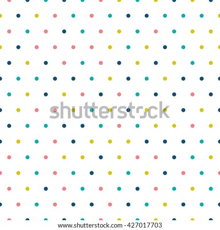 Seamless polka dot pattern with circles of fresh colors on a white background