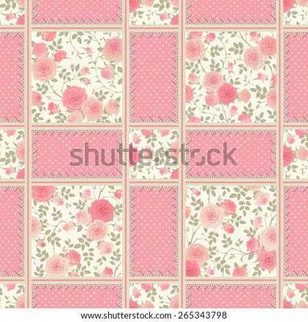 Seamless polka dot pattern with roses, leaves and laces. Vector floral checkered backgrounds set. Patchwork texture. - stock vector