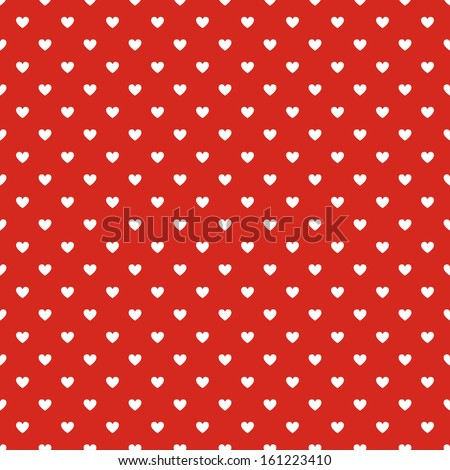 Seamless polka dot red pattern with hearts. Vector