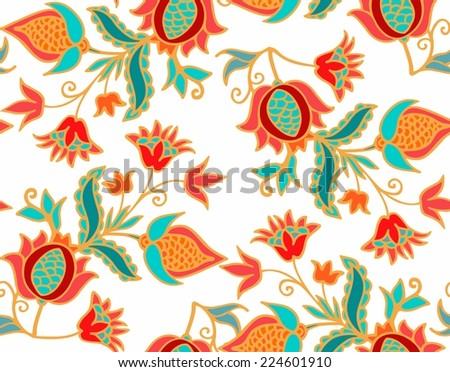 Seamless pomegranate pattern - stock vector
