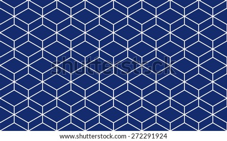 Seamless porcelain indigo blue and white isometric parallelepiped pattern vector - stock vector