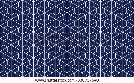 Seamless porcelain indigo blue and white trilateral outline isometric hexagonal pattern vector