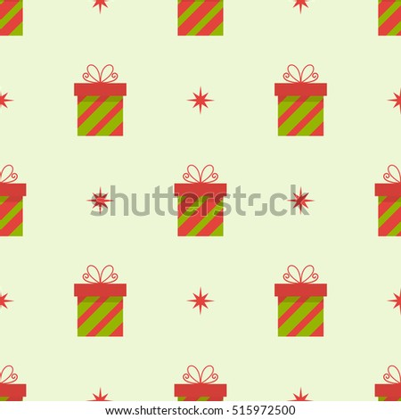 Seamless presents Christmas pattern. Vector illustration