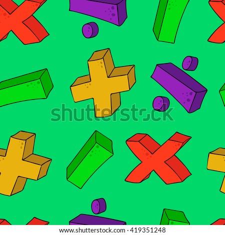 seamless psttern cartoon math symbols - stock vector