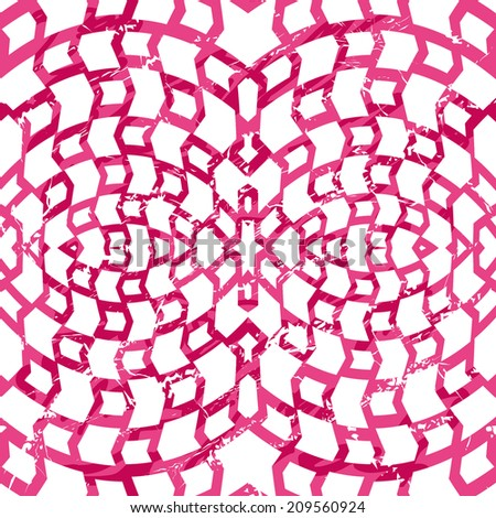 Seamless psychedelic net pattern in grunge style. Red grid texture on white - stock vector