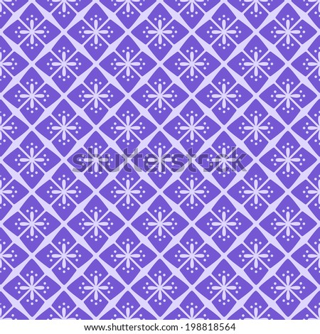 Seamless Purple Floral Geometric Pattern. Simple Vector Illustration. - stock vector