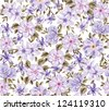 seamless purple flowers background, floral pattern, high fashion trend, trendy purple - stock vector