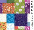 Seamless quilt pattern - floral fabrics design - stock vector