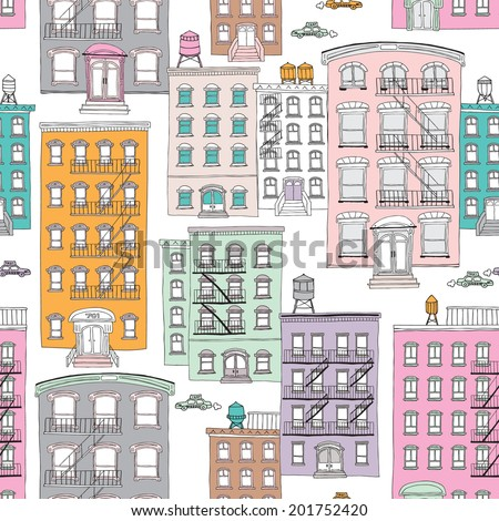 Seamless quirky brownstone homes new york city theme vintage style illustration background pattern in vector - stock vector