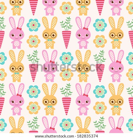 seamless rabbit cartoon background - stock vector