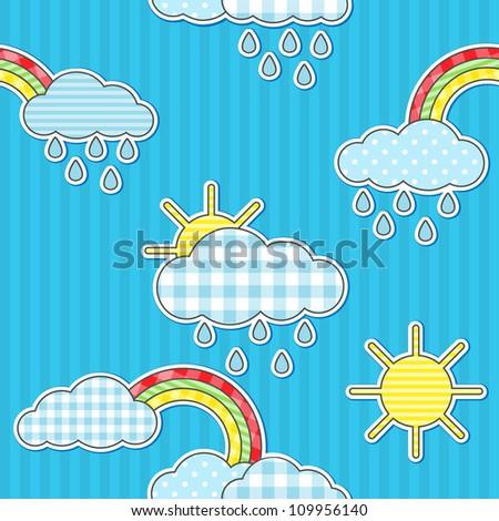 Seamless rain pattern with sun and rainbows - stock vector