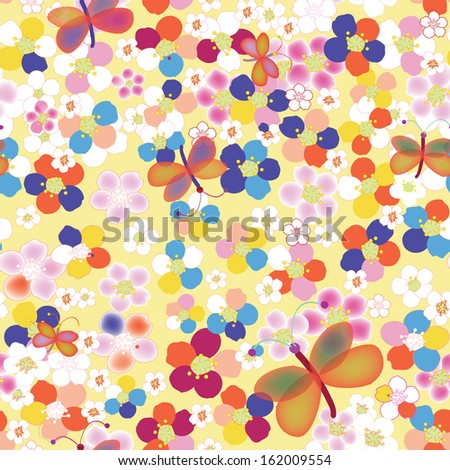 Seamless rainbow childish pattern with abstract flowers and butterflies - stock vector