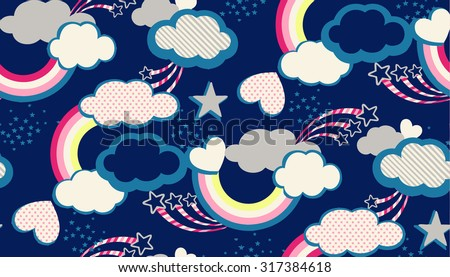 Seamless rainbow cloud hearts and sky illustration retro style background pattern in vector - stock vector