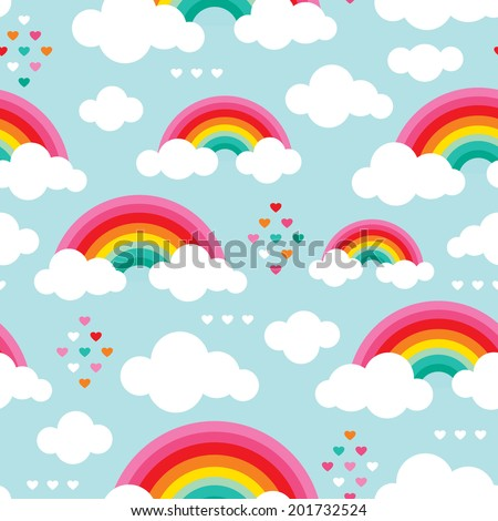 Seamless rainbow sky an hearts ion the clouds illustration background pattern in vector - stock vector