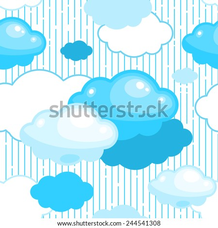 Seamless rainy day pattern with stylized fluffy clouds and rainfall - stock vector