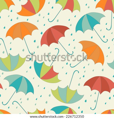seamless rainy pattern with umbrellas and raindrops - stock vector