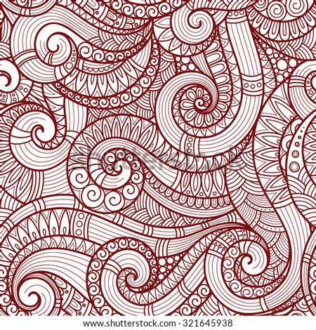 Seamless red abstract hand-drawn pattern, waves background. Doodle  Illustration Design  - stock vector