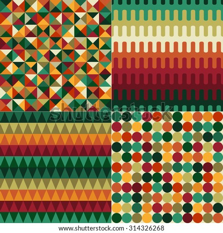 seamless red and green geometric pattern - stock vector