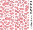 Seamless red bacterium pattern. Vector illustration - stock vector