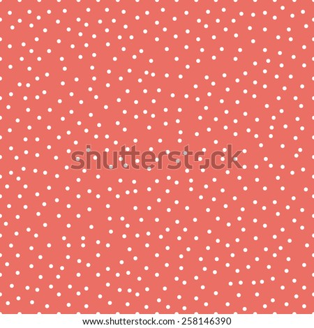 Seamless red chaotic tileable polka dot pattern vector - stock vector