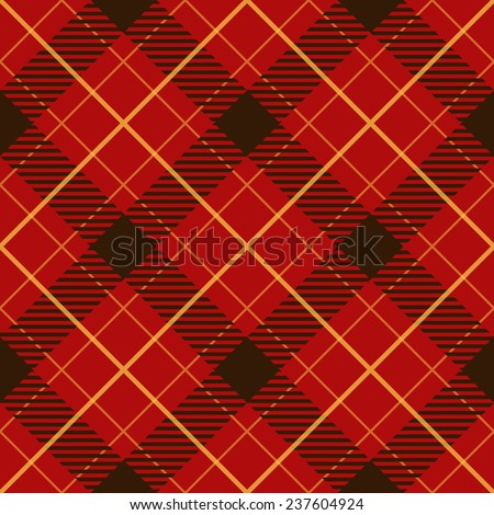 Seamless red diagonal plaid vector pattern. - stock vector