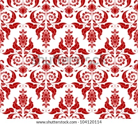Seamless red floral background, beautiful vector illustration - stock vector