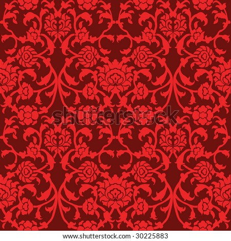 Seamless red flowers pattern. FIND MORE pattern in my portfolio