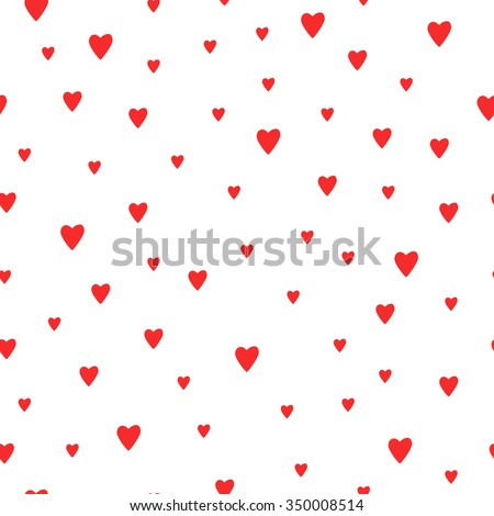 Seamless Red Hearts Pattern Background. Cute Vector Romantic Hearts Pattern  For Postcard And Poster Design